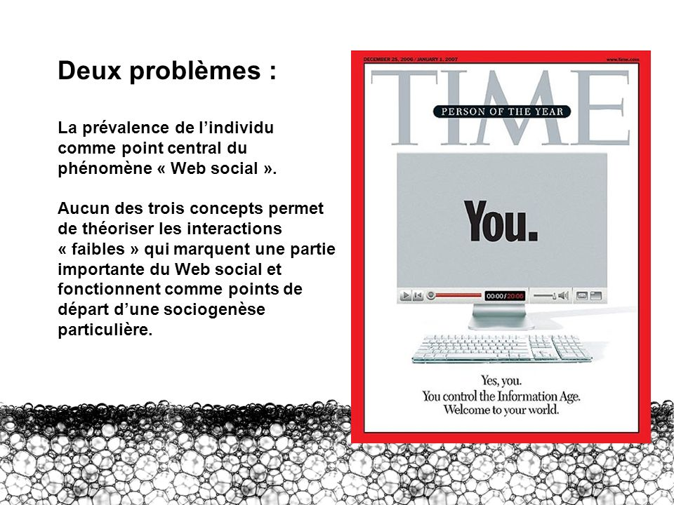 II – Deux problèmes Deux problèmes : La prévalence de l'individu comme point central du phénomène « Web social ».