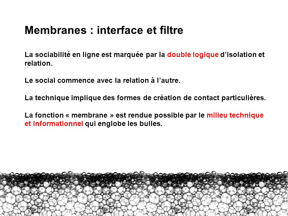 III – Membranes : interface et filtre