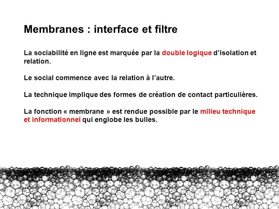 III – Membranes : interface et filtre