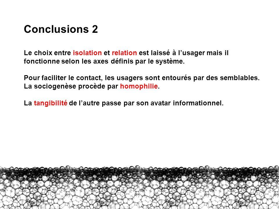 Conclusions 2 Conclusions 2. Le choix entre isolation et relation est laissé à l'usager mais il fonctionne selon les axes définis par le système.