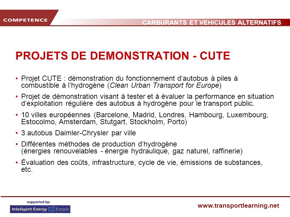 PROJETS DE DEMONSTRATION - CUTE