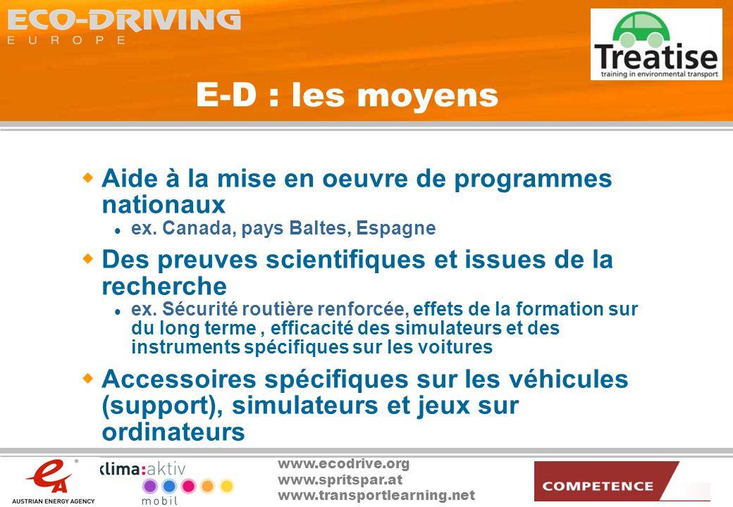 E-D : les moyens Aide à la mise en oeuvre de programmes nationaux