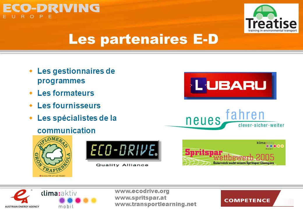 Les partenaires E-D Les gestionnaires de programmes Les formateurs