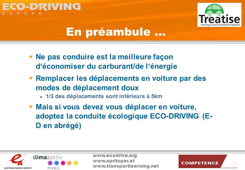 En préambule … Ne pas conduire est la meilleure façon d'économiser du carburant/de l'énergie.