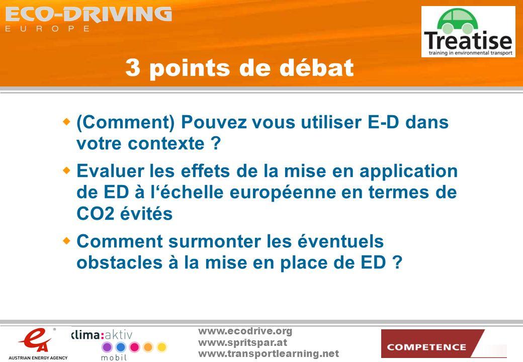 3 points de débat (Comment) Pouvez vous utiliser E-D dans votre contexte