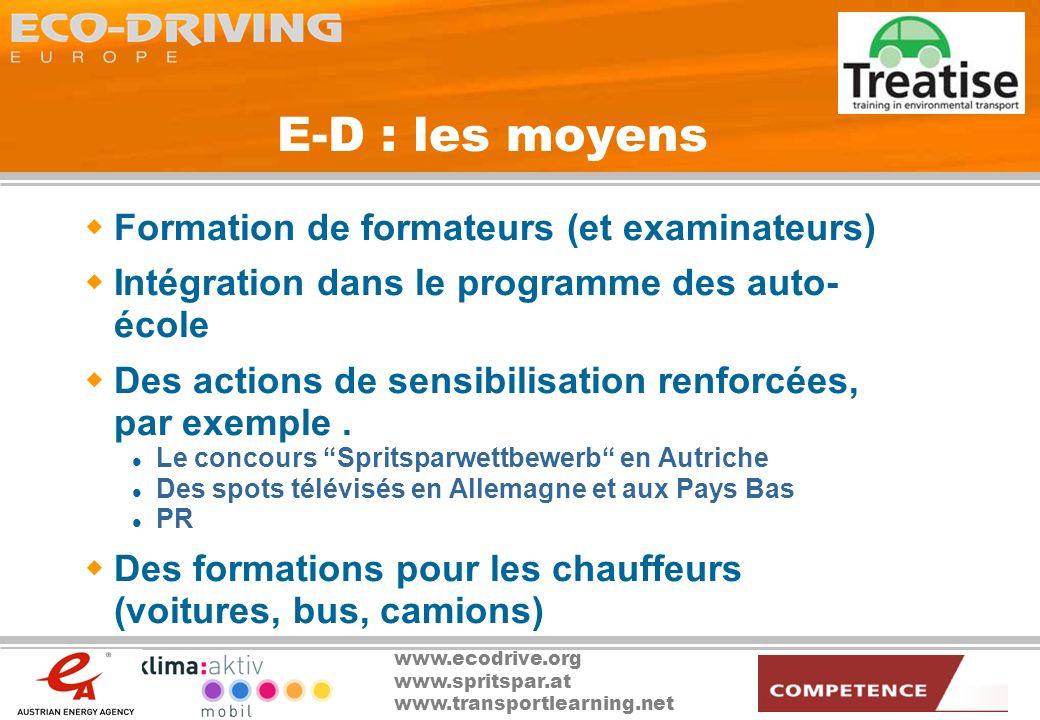 E-D : les moyens Formation de formateurs (et examinateurs)