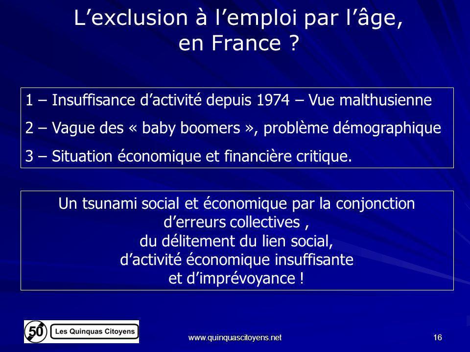 L'exclusion à l'emploi par l'âge, en France
