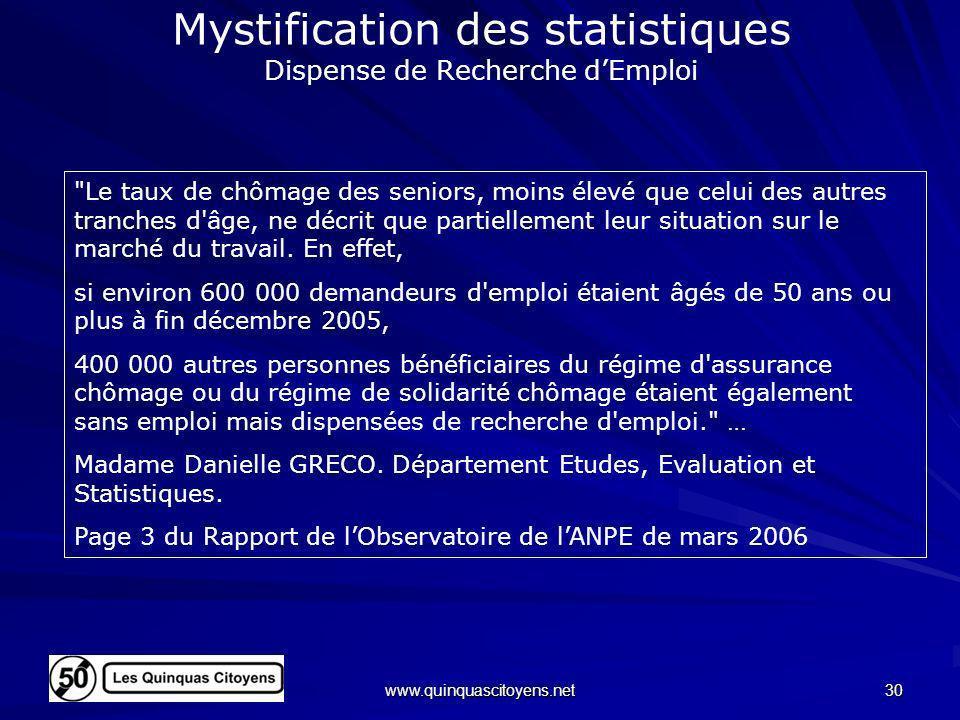 Mystification des statistiques Dispense de Recherche d'Emploi