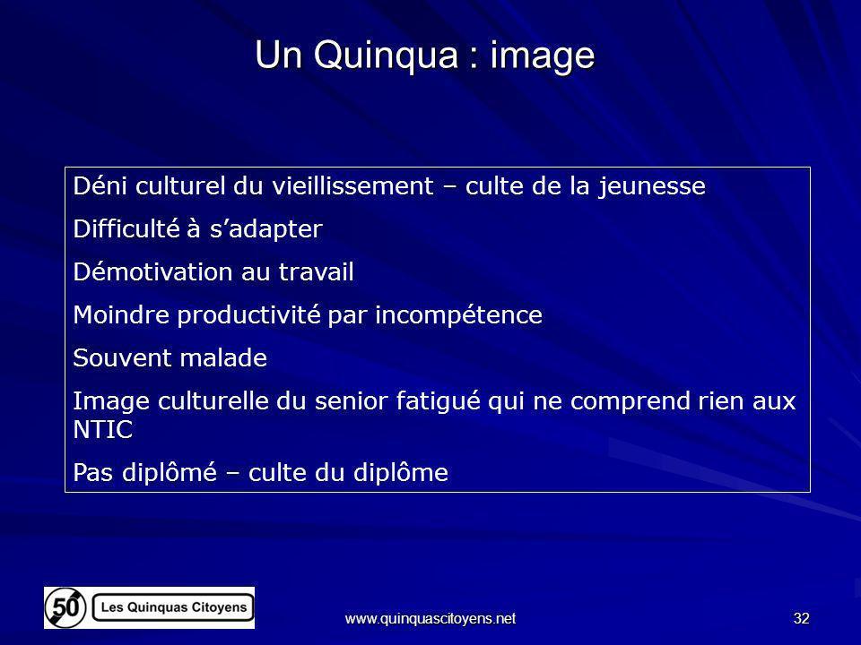 Un Quinqua : imageDéni culturel du vieillissement – culte de la jeunesse. Difficulté à s'adapter. Démotivation au travail.