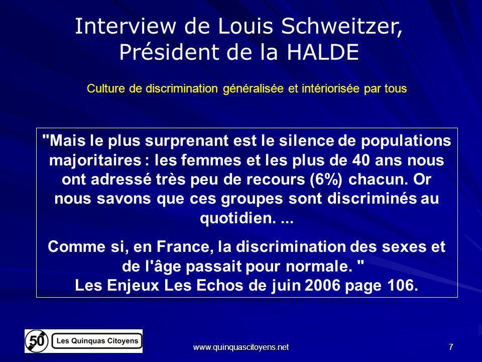 Interview de Louis Schweitzer, Président de la HALDE