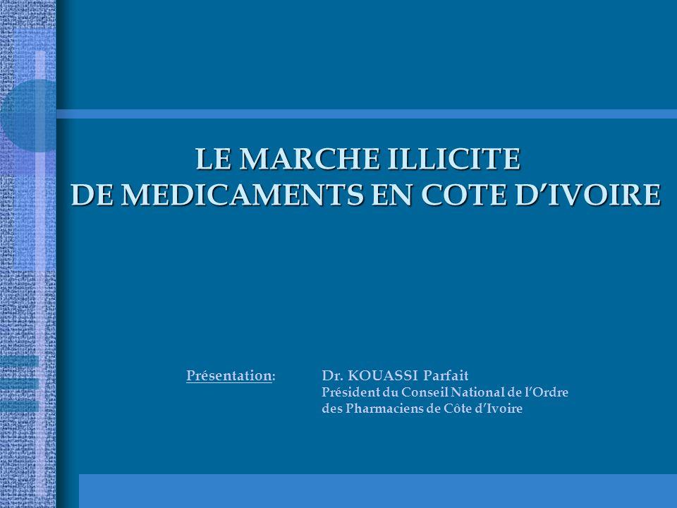 LE MARCHE ILLICITE DE MEDICAMENTS EN COTE D'IVOIRE