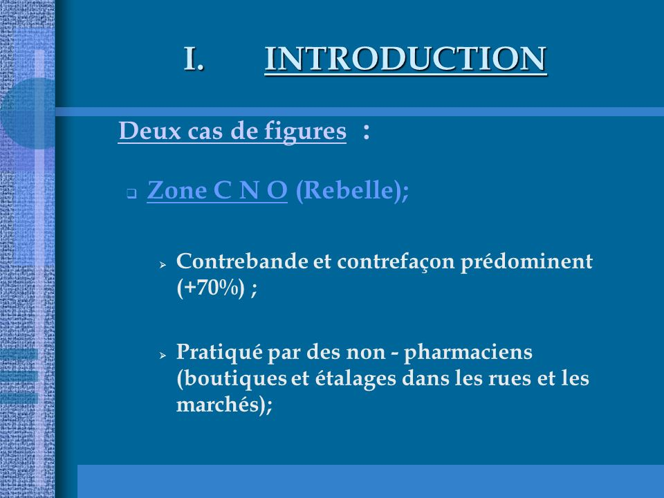 INTRODUCTION Deux cas de figures : Zone C N O (Rebelle);
