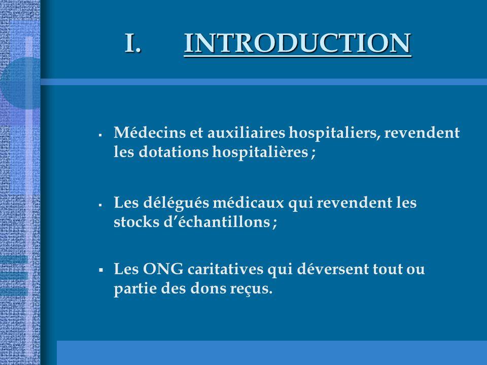 INTRODUCTION Médecins et auxiliaires hospitaliers, revendent les dotations hospitalières ;