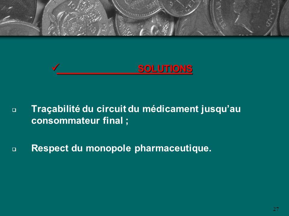 SOLUTIONS Traçabilité du circuit du médicament jusqu'au consommateur final ; Respect du monopole pharmaceutique.