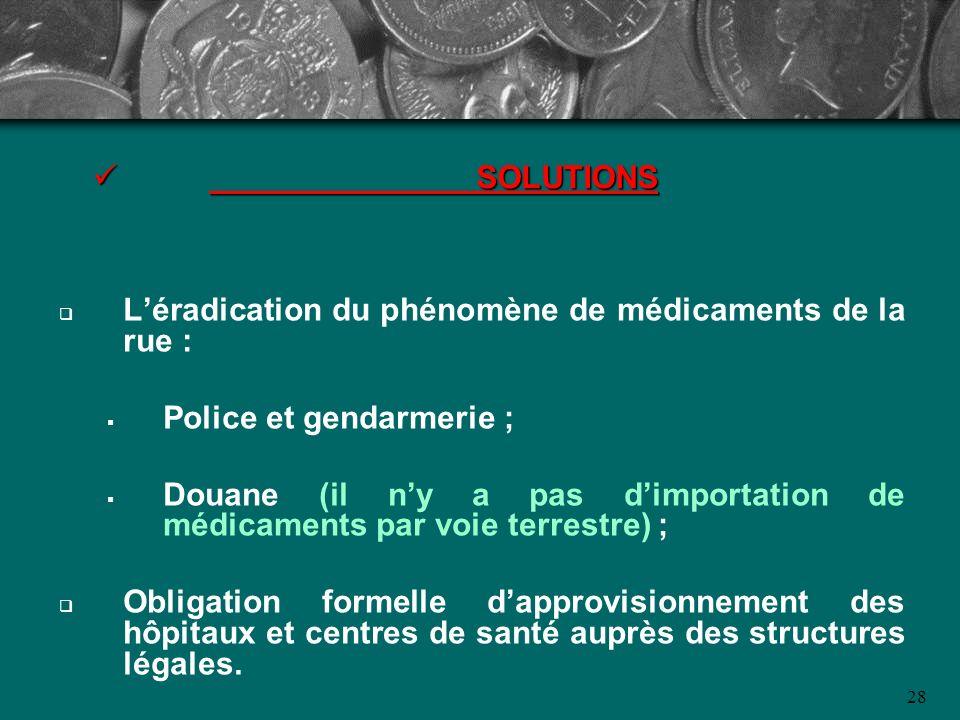 SOLUTIONS L'éradication du phénomène de médicaments de la rue : Police et gendarmerie ;