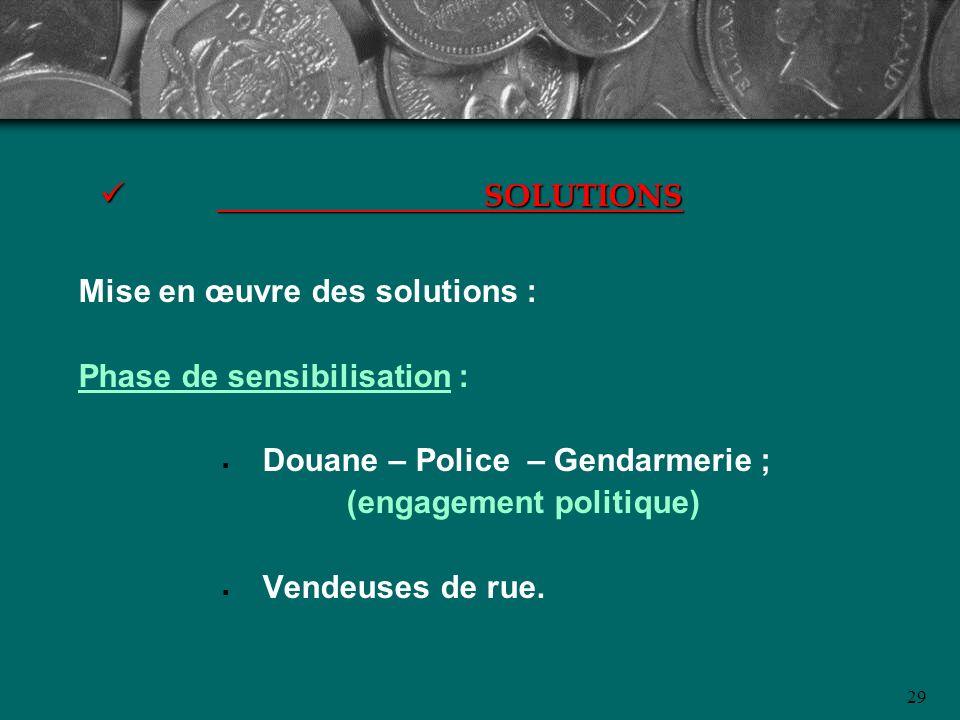 SOLUTIONS Mise en œuvre des solutions : Phase de sensibilisation : Douane – Police – Gendarmerie ;