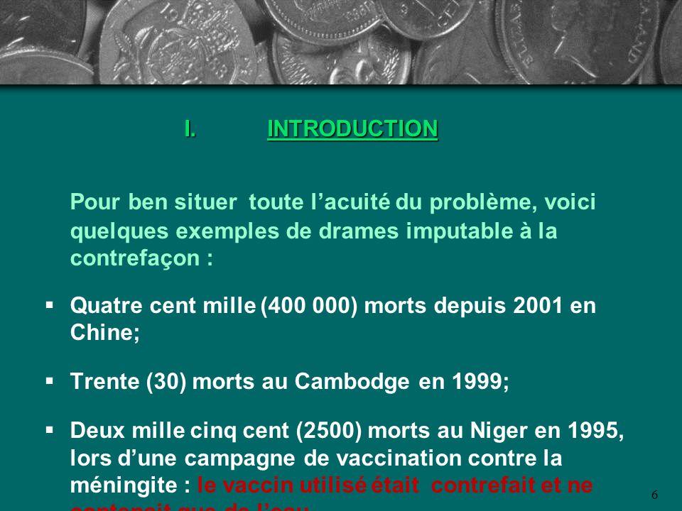 INTRODUCTION Pour ben situer toute l'acuité du problème, voici quelques exemples de drames imputable à la contrefaçon :