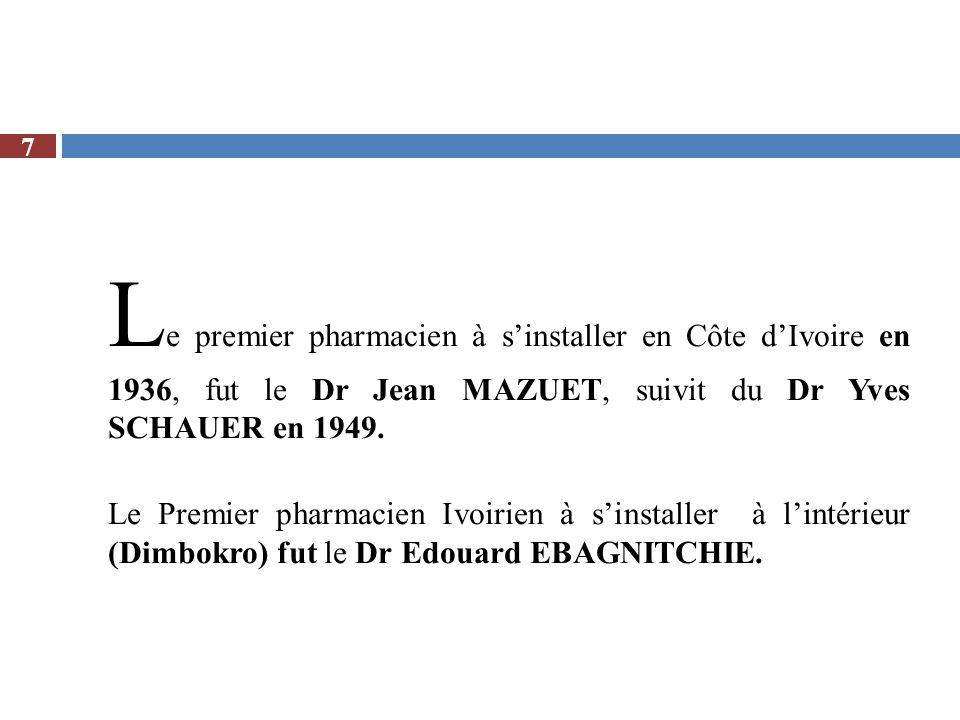 Le premier pharmacien à s'installer en Côte d'Ivoire en 1936, fut le Dr Jean MAZUET, suivit du Dr Yves SCHAUER en 1949.