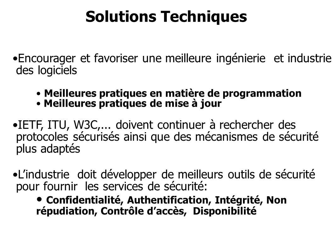 Solutions Techniques Encourager et favoriser une meilleure ingénierie et industrie des logiciels. Meilleures pratiques en matière de programmation.