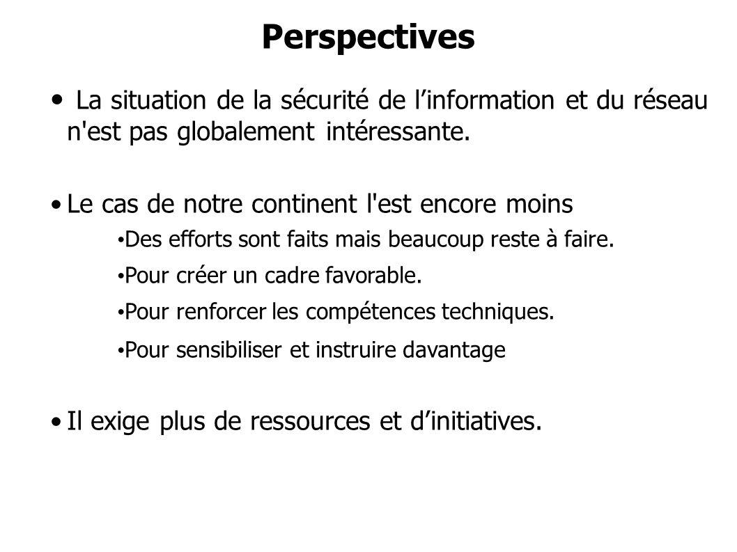 Perspectives La situation de la sécurité de l'information et du réseau n est pas globalement intéressante.