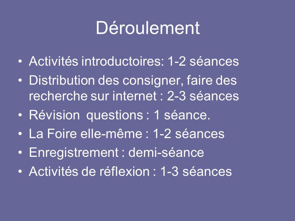 Déroulement Activités introductoires: 1-2 séances
