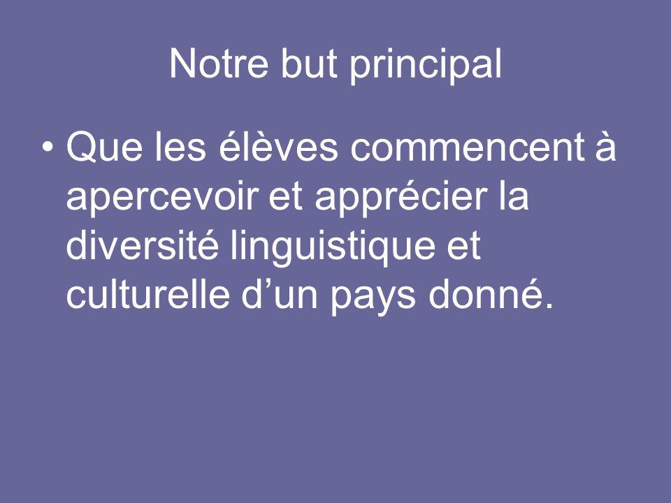 Notre but principal Que les élèves commencent à apercevoir et apprécier la diversité linguistique et culturelle d'un pays donné.