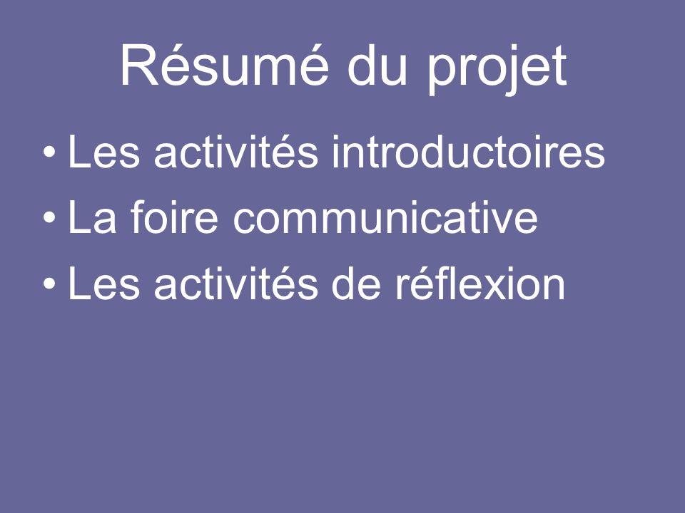 Résumé du projet Les activités introductoires La foire communicative
