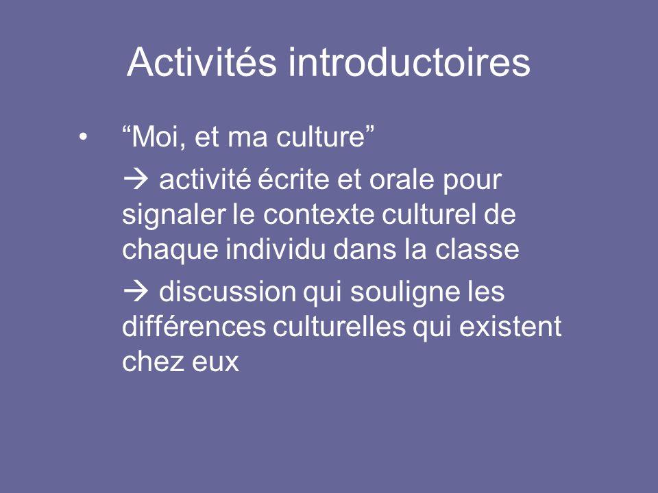 Activités introductoires