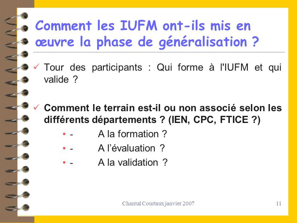 Comment les IUFM ont-ils mis en œuvre la phase de généralisation