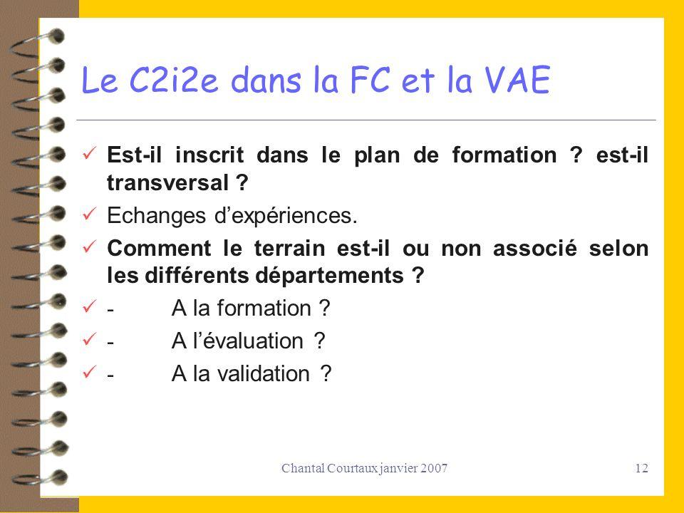 Le C2i2e dans la FC et la VAE