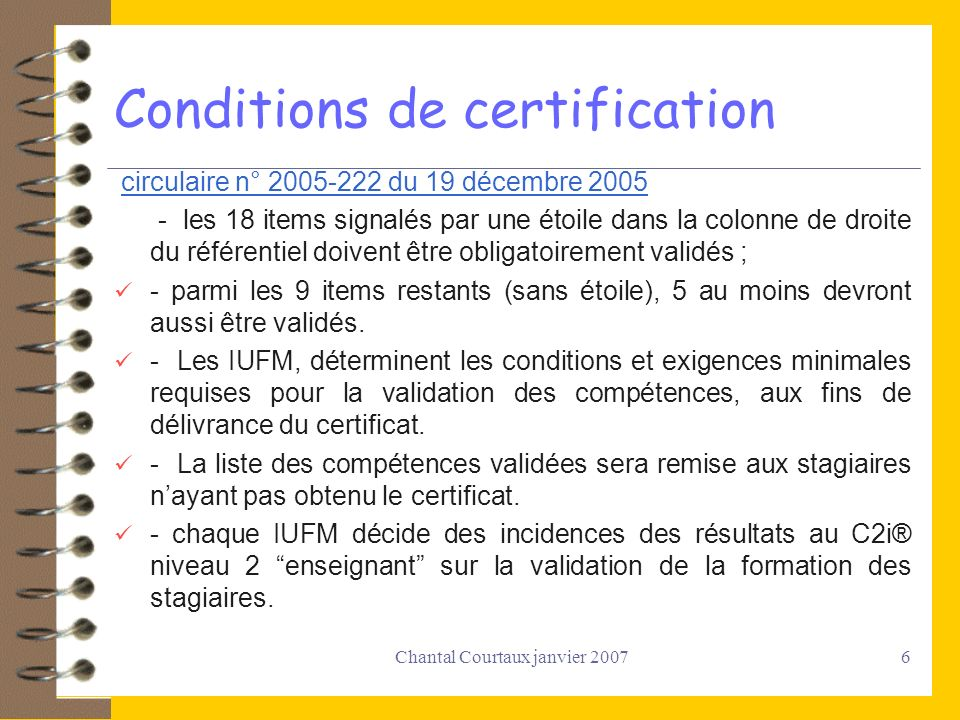 Conditions de certification