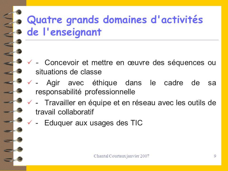 Quatre grands domaines d activités de l enseignant