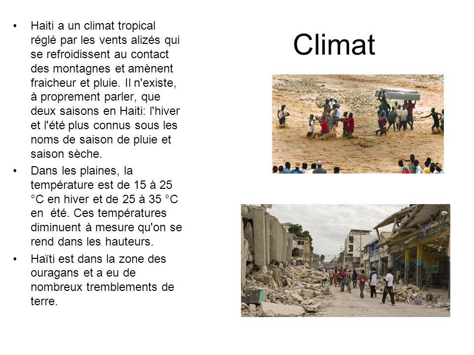 Haiti a un climat tropical réglé par les vents alizés qui se refroidissent au contact des montagnes et amènent fraicheur et pluie. Il n existe, à proprement parler, que deux saisons en Haiti: l hiver et l été plus connus sous les noms de saison de pluie et saison sèche.