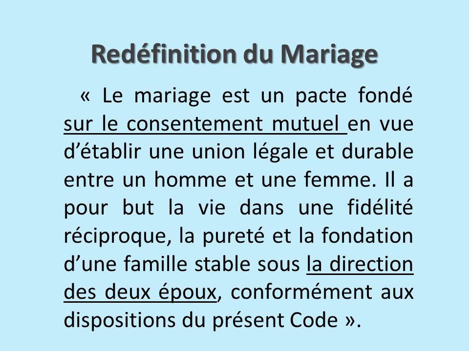 Redéfinition du Mariage