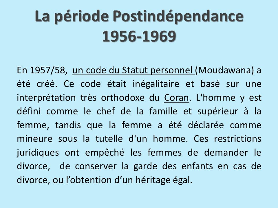 La période Postindépendance 1956-1969