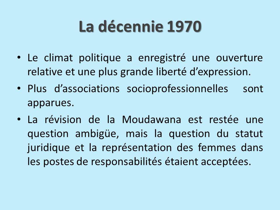 La décennie 1970 Le climat politique a enregistré une ouverture relative et une plus grande liberté d'expression.