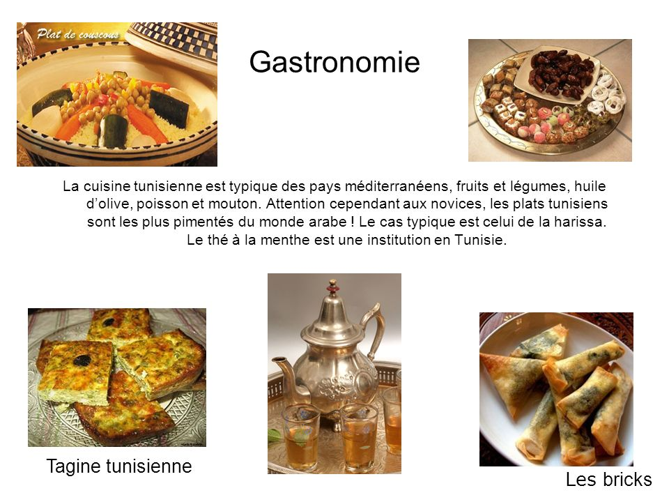 Gastronomie Tagine tunisienne Les bricks