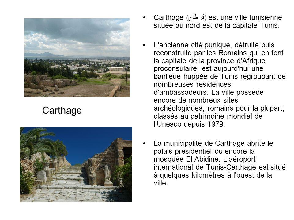 Carthage (قرطاج) est une ville tunisienne située au nord-est de la capitale Tunis.