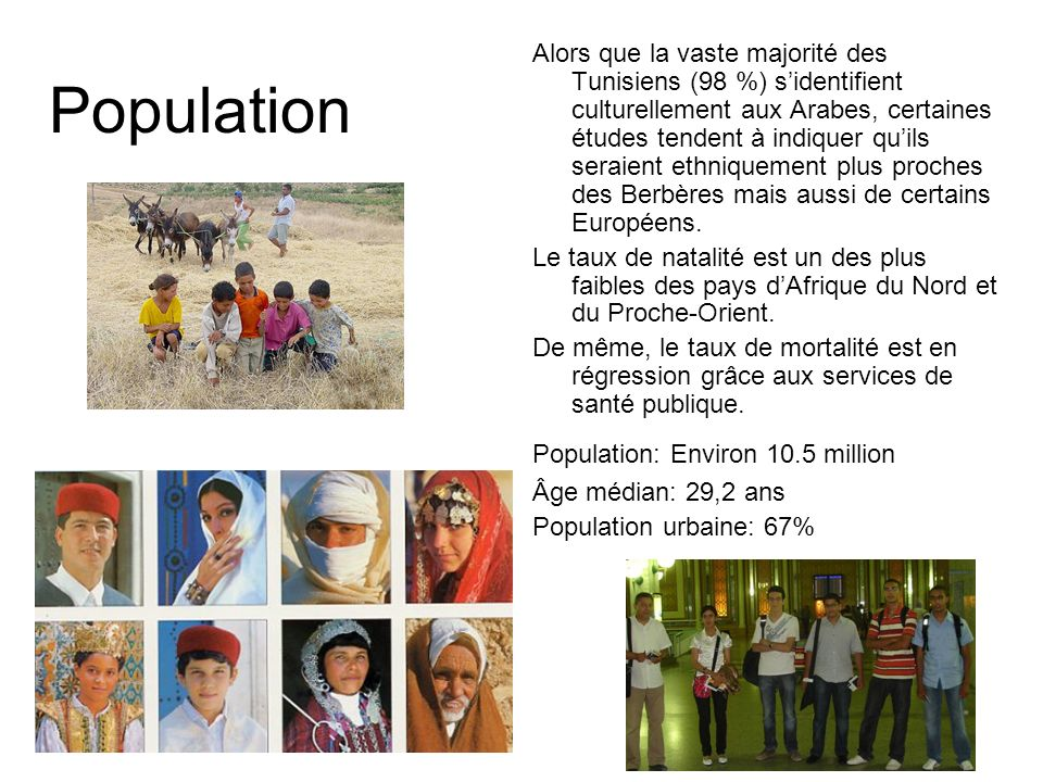 Alors que la vaste majorité des Tunisiens (98 %) s'identifient culturellement aux Arabes, certaines études tendent à indiquer qu'ils seraient ethniquement plus proches des Berbères mais aussi de certains Européens.
