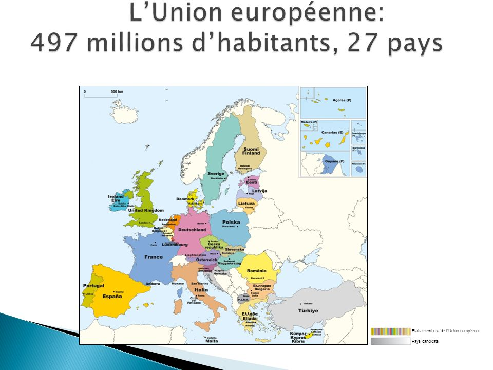 L'Union européenne: 497 millions d'habitants, 27 pays