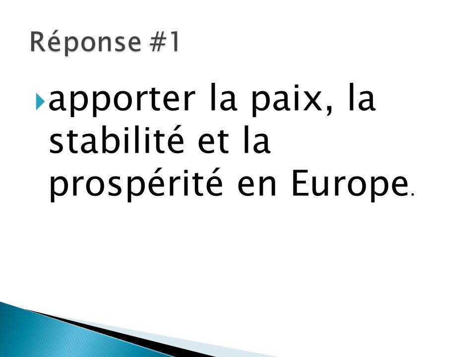 apporter la paix, la stabilité et la prospérité en Europe.