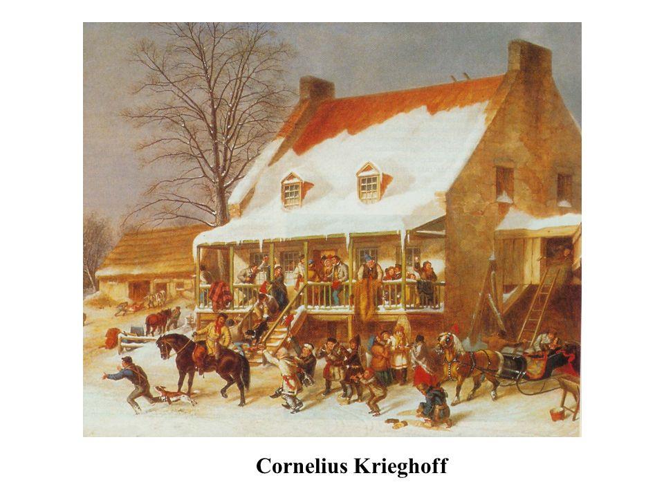 Cornelius Krieghoff a immortalisé l'hiver canadien et les beuveries des habitants . On l'accuse d'avoir crée le stéréotype du Canadien français fêtard et insouciant.