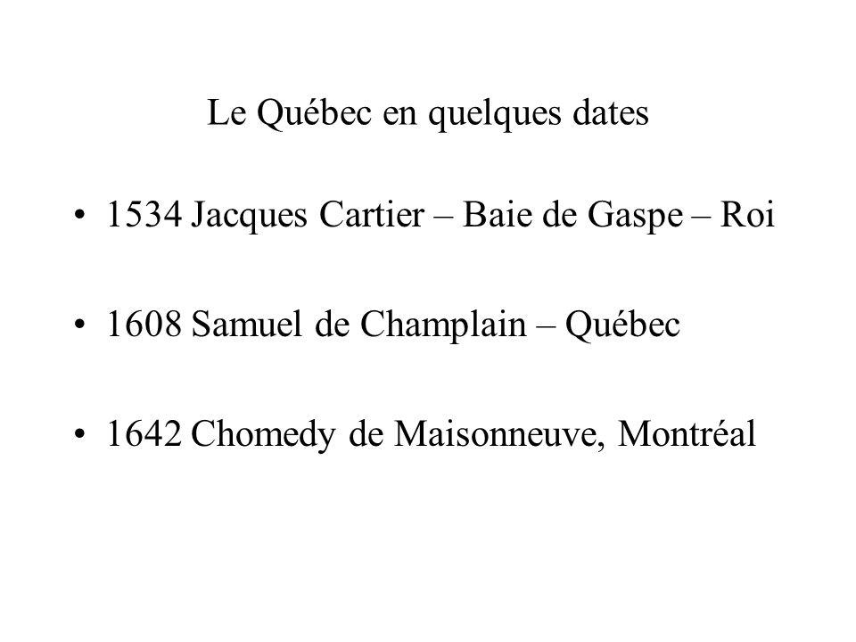 Le Québec en quelques dates