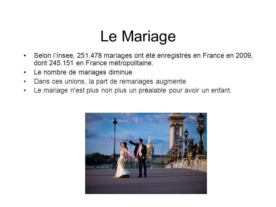 Le Mariage Selon l'Insee, 251.478 mariages ont été enregistrés en France en 2009, dont 245.151 en France métropolitaine.