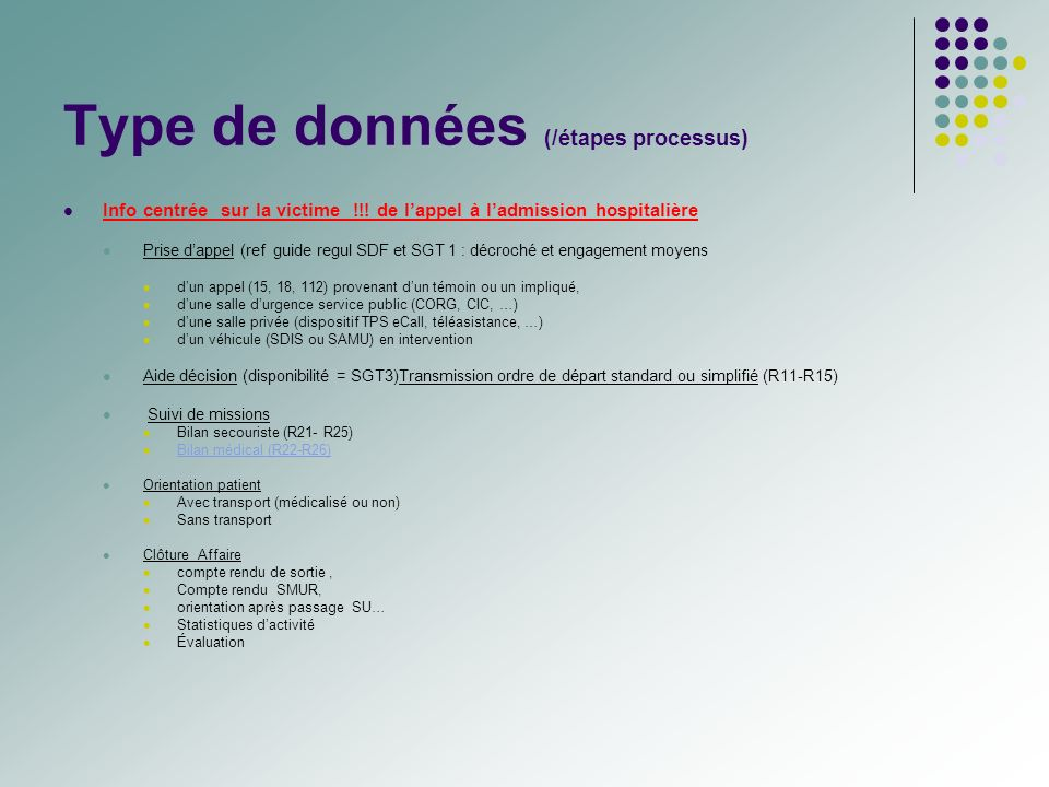 Type de données (/étapes processus)