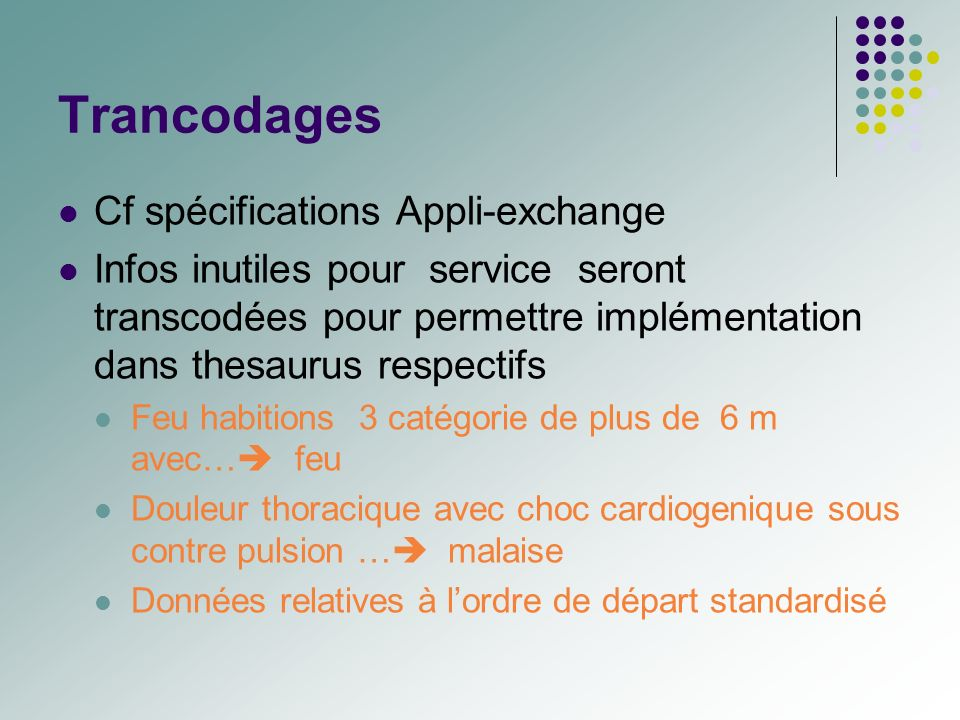 Trancodages Cf spécifications Appli-exchange