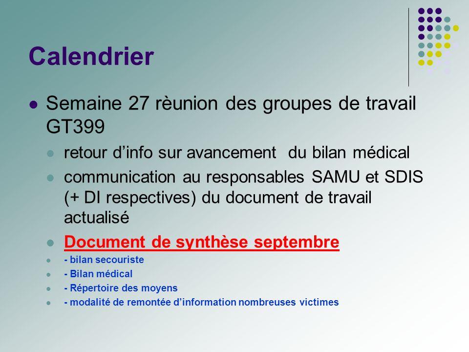 Calendrier Semaine 27 rèunion des groupes de travail GT399