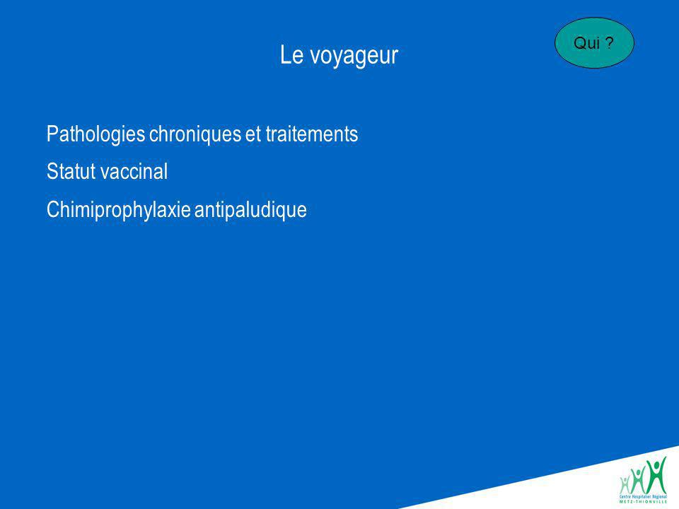 Le voyageur Pathologies chroniques et traitements Statut vaccinal