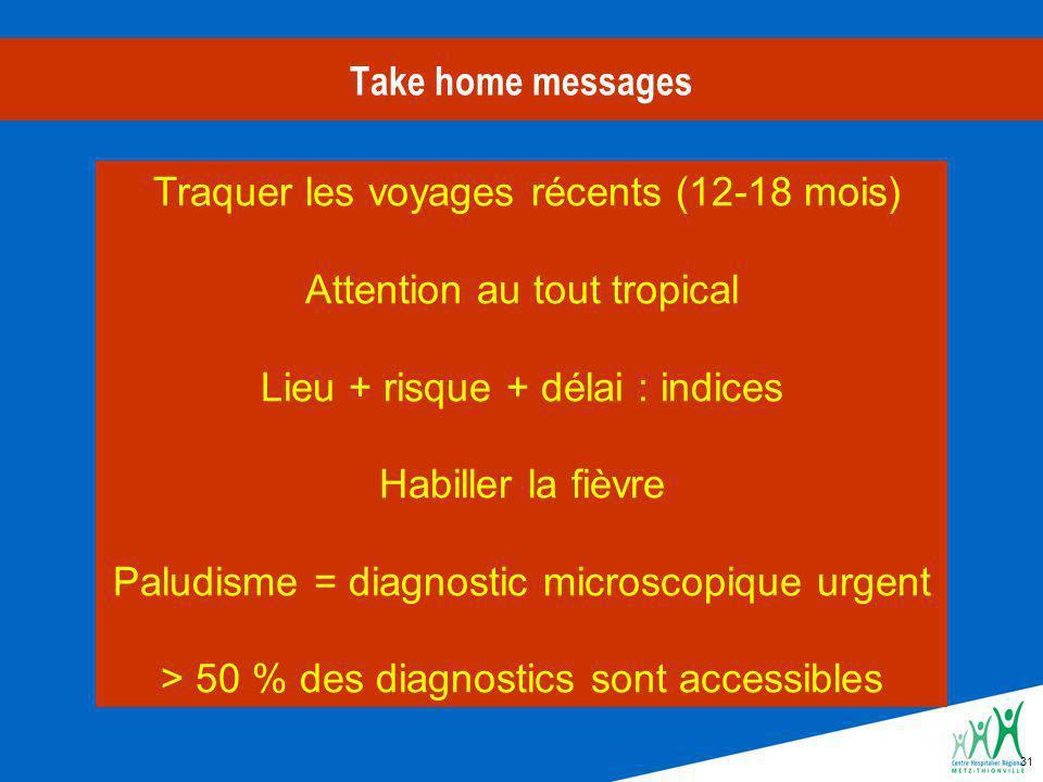 Traquer les voyages récents (12-18 mois) Attention au tout tropical