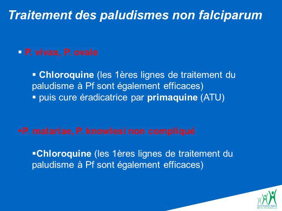 Traitement des paludismes non falciparum